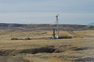 Oil and gas development in sage-grouse habitat. Photo: C. Olson